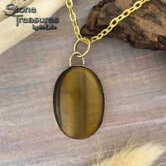 Tiger Eye Pendant with Necklace - Stone Treasures by the Lake