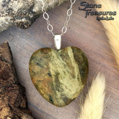 Unakite Heart Pendant Necklace  - Stone Treasures by the Lake