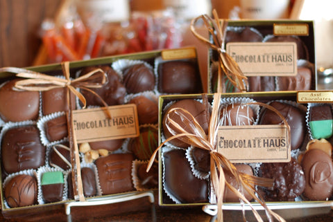 Our most popular gourmet hand-dipped chocolates in a gold box that comes in 3 different sizes.