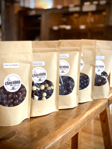 malted milk balls, espresso beans, ny espresso beans, chocolate peanuts, chocolate raisins, cordials, at the chocolate haus in the amana colonies iowa