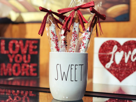 chocolate dipped pretzels decorated for Valentine's Day and makes the perfect gift. Made in Amana, Iowa