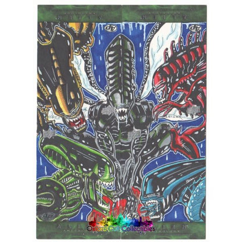 Alien Anthology Artist Proof 4 Card Sketch Panel By Ruskin/ohlendorf