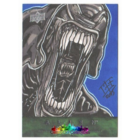 Alien Anthology Artist Sketch Card By Bryan Silverbax