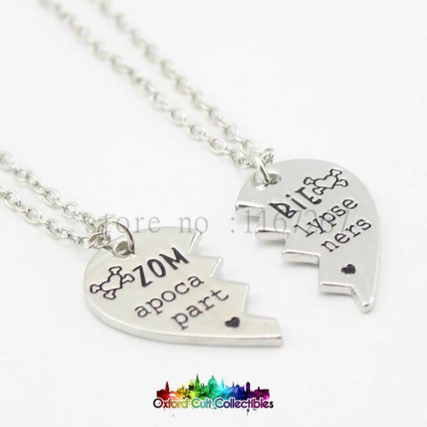 Broken Heart Zombie Apocalypse Partners Best-Friends/couples Hand Stamped Necklace