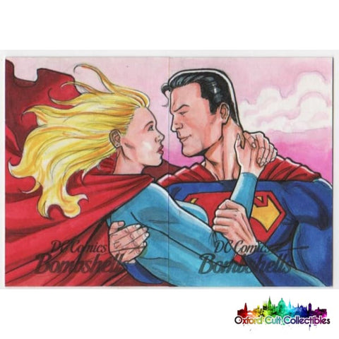 Dc Bombshells Superman And Supergirl Artist Proof Sketch Card Panel By Luiz