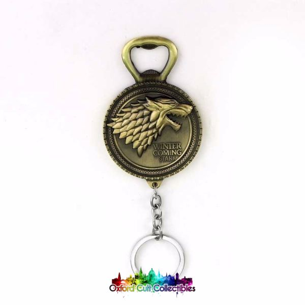 Game Of Thrones House Stark Winter Is Coming Dire Wolf Metal Keyring Bottle Opener Bronze