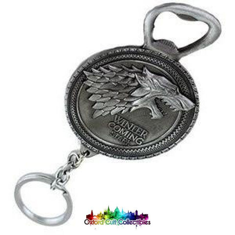 Game Of Thrones House Stark Winter Is Coming Dire Wolf Metal Keyring Bottle Opener Silver