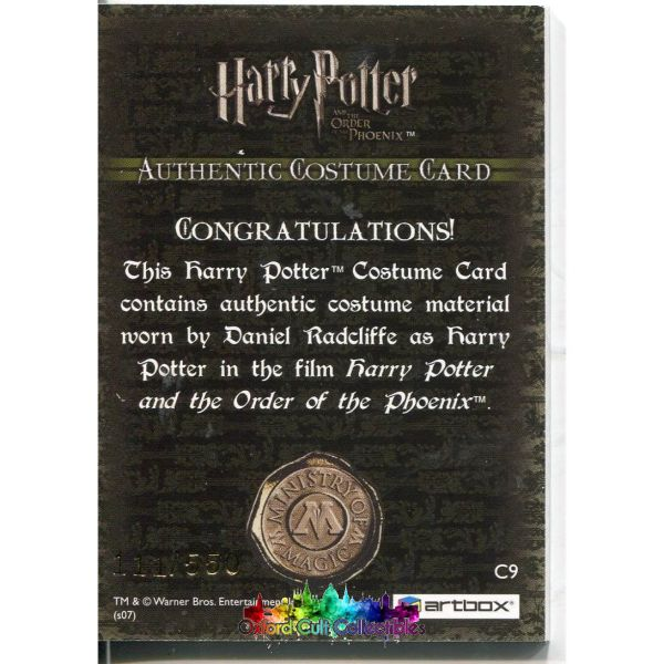 Harry Potter Authentic Costume Card