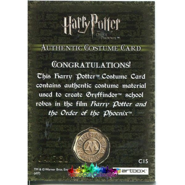 Harry Potter Gryffindor School Robes Authentic Costume Card