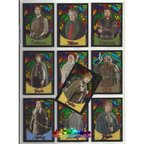 Lord Of The Rings Evolution Stained Glass Set 10 Trading Cards