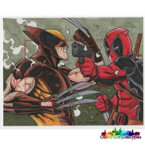Marvel 75 Years Sketchafex Wolverine Vs Deadpool Sketch Card