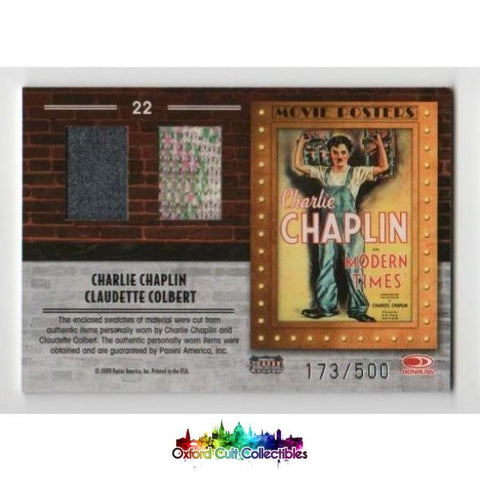 Modern Times Charlie Chaplin And Claudette Colbert Movie Poster Dual Costume Card