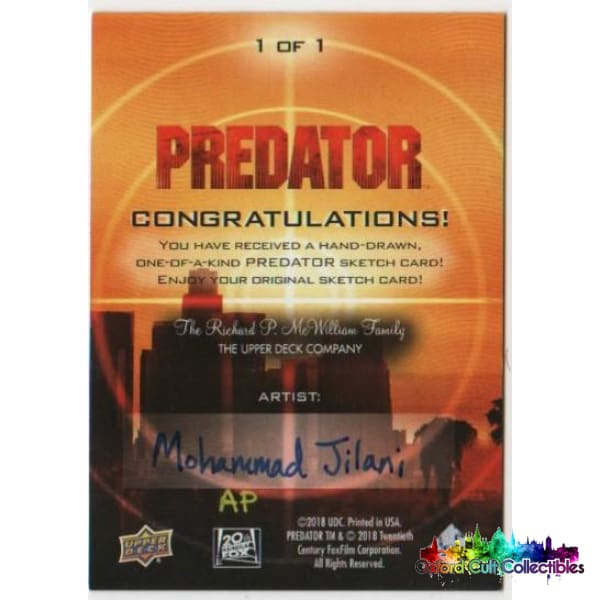 Predator Artist Proof Sketch Card By Mohammad Jilani