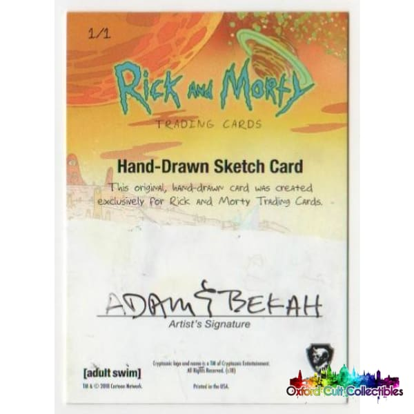 Rick And Morty Artist Sketch Card