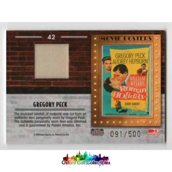 Roman Holiday Gregory Peck Movie Poster Costume Card