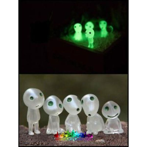 Studio Ghibli Set Of 5 Glow In The Dark Kodama Figurines