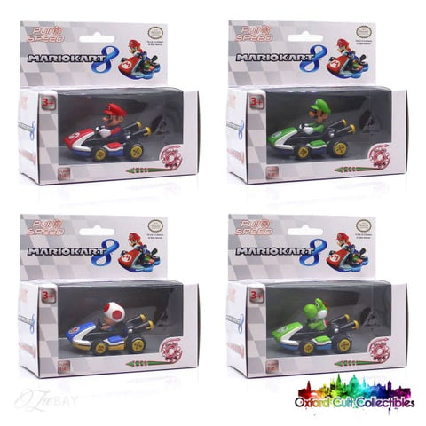 Super Mario Mariokart 8 Set Of 4 Pull Back Racers