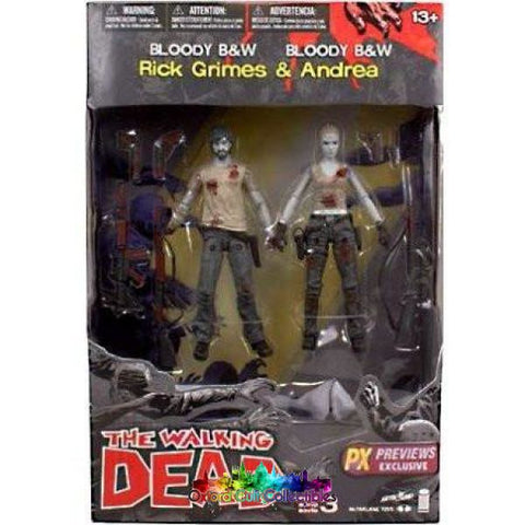 The Walking Dead Bloody B&w Rick & Andrea Action Figure Set (Previews Exclusive) Mystery Mini