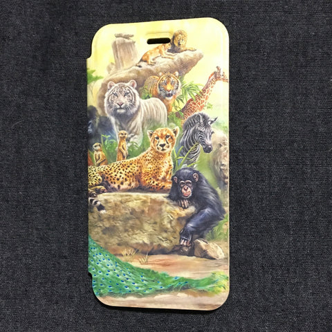 iPhone Slimline Animal Wallet Style Book Case with Gel Back