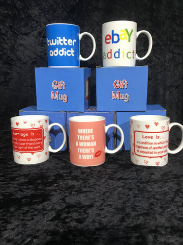 Humorous gift mugs with boxes