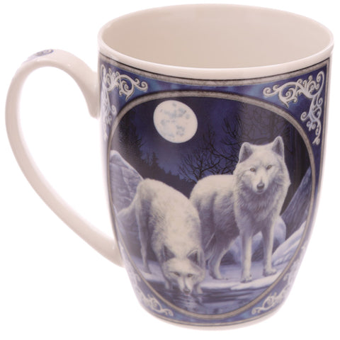 Winter Warrior Wolf Porcelain Mug - Lisa Parker Licensed Design side view