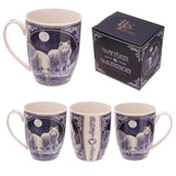 Winter Warrior Wolf Porcelain Mug - Lisa Parker Licensed Design side view and box