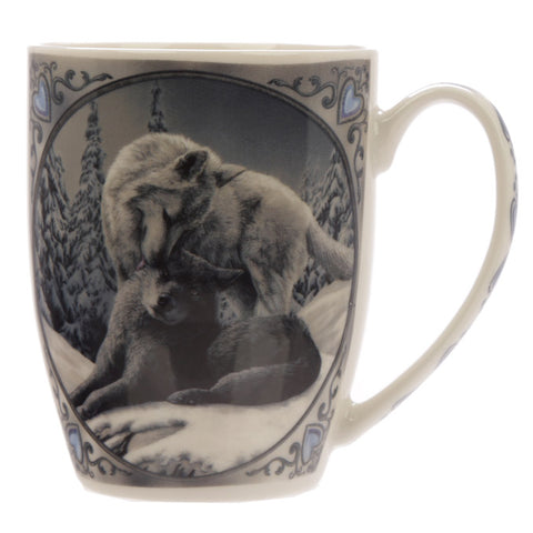 Snow Kisses Wolf Porcelain Mug - Lisa Parker Licensed Design side view