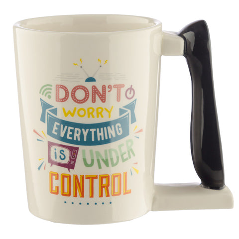 TV Remote Control Shaped Handle Ceramic Mug side view