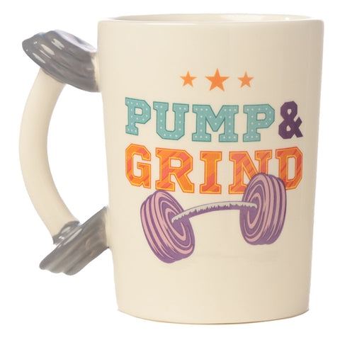 Dumbbell Shaped Handle Ceramic Mug with Pump & Grind Decal side view