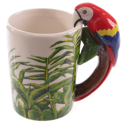 Parrot Shaped Handle Ceramic Garden Mug side view
