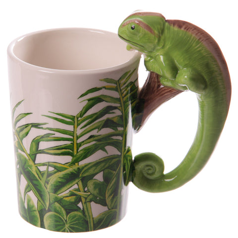 Chameleon Shaped Handle Ceramic Mug