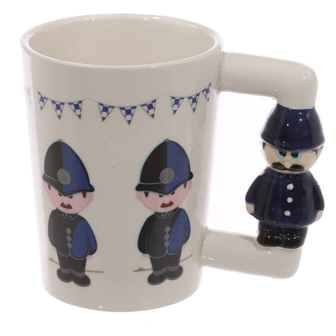 Policeman Figure Shaped Handle Mug