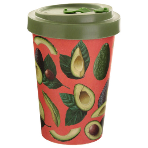 Bamboo travel mug avocado pattern