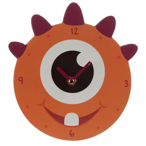 Orange monster kids wall clock