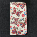 Front of diamante flower book flip wallet style phone case