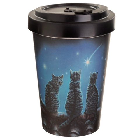 Bamboo travel mug three cat Design