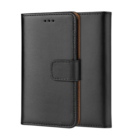 Front and back image of real leather wallet style book phone case