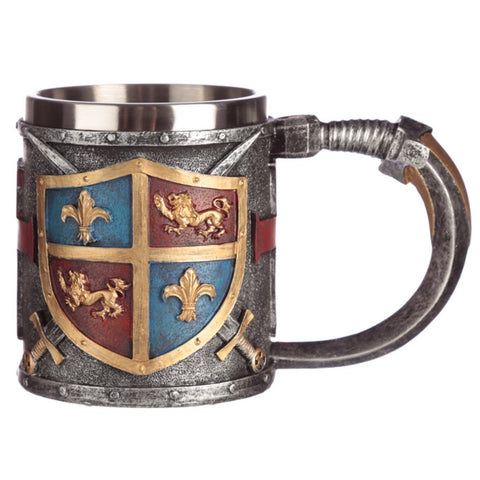 Tankard with coat of arms side view
