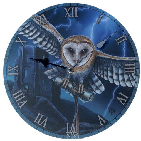 Decorative Fantasy Heart of the Storm Owl Wall Clock