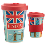 Bamboo travel mug front and rear view of London design