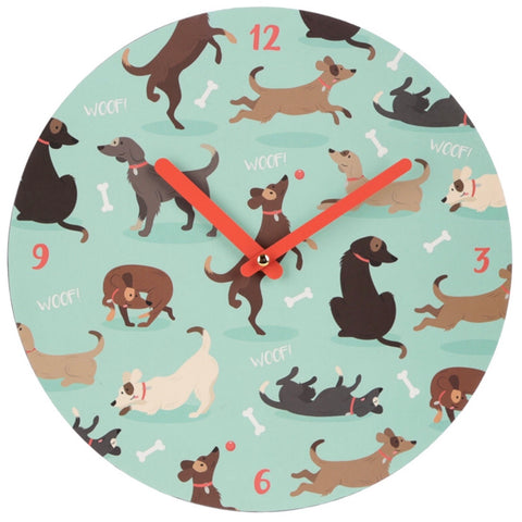 Fun Catch Patch Dog Design Wall Clock