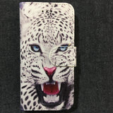 IPhone White Leopard Wallet Style Book Case with 2 Internal card slot