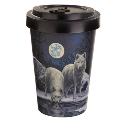 Bamboo travel mug wolf design