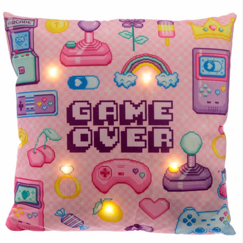 Game over cushier LED light pink