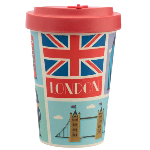 Bamboo travel mug with a lid London design