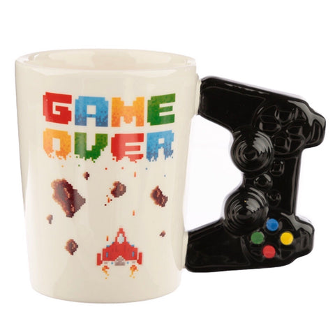 Game Over Decal with Game Controller Shapped Handle Mug - Side View