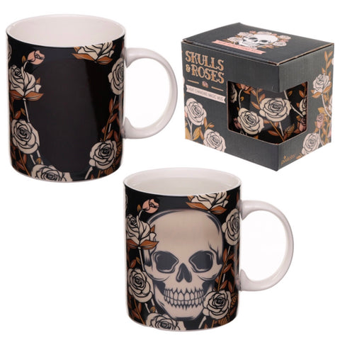 Heat Colour Changing Porcelain Mug - Skulls and Roses and box