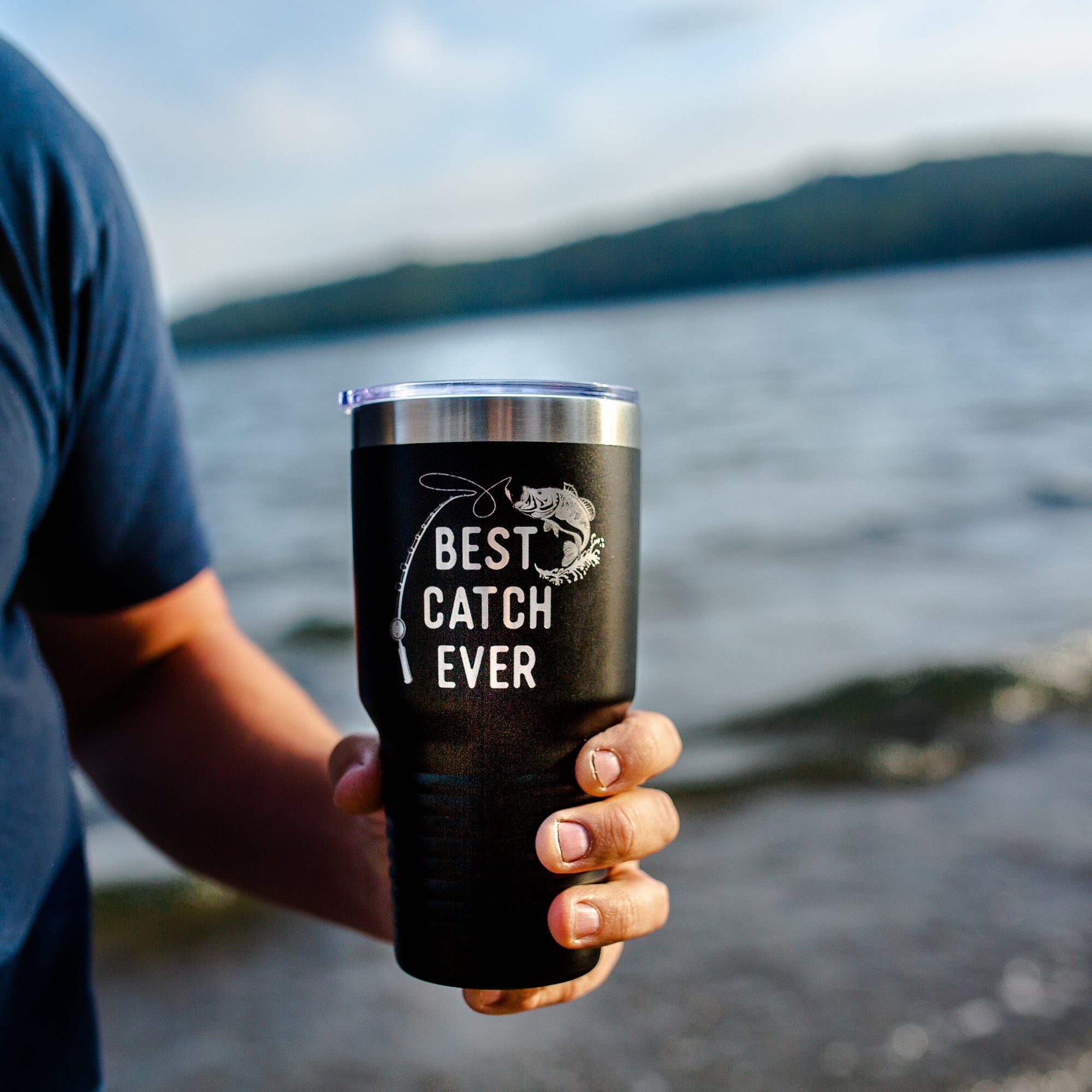 Best Catch Ever Fisherman Tumbler - Black 30 oz
