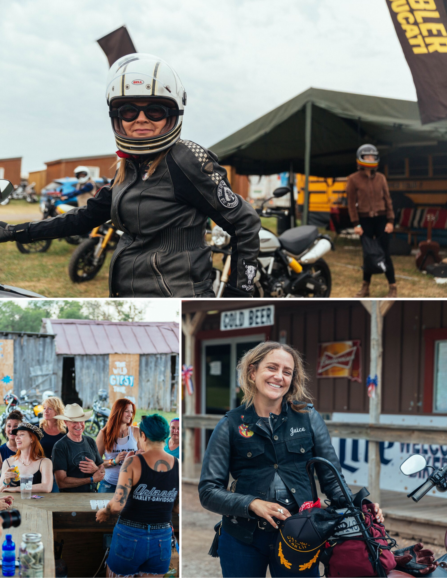 Female motorcyclists getting ready to ride