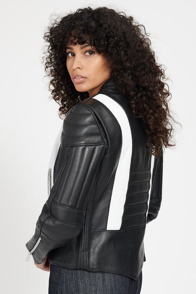 STARFIELD MX Leather Jacket // BLACK w/white